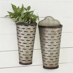 Set of Two Tall Olive Vented Wall Pockets
